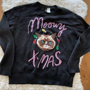 H&M Divided Cat Meow Christmas sweater size XS